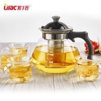 紫丁香玻璃耐热泡茶壶开水煮茶壶套装玻璃养生壶直火壶花茶壶冲茶