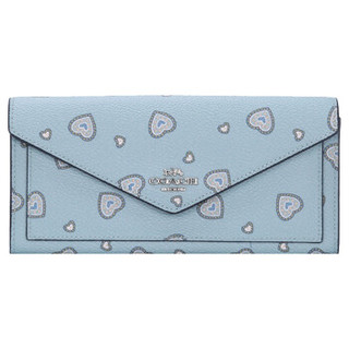 蔻驰(COACH) 奢侈品 女士专柜款小号钱包蓝色印花皮革 29987 SVNQ3