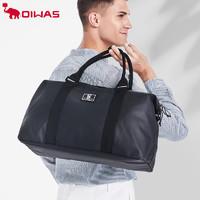爱华仕新品旅行手提袋黑色时尚行李袋手提包时尚百搭可折叠男女潮