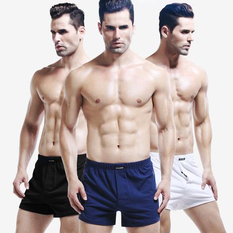 3条装棉宽松男士内裤透气家居短裤平角裤舒适宽松家居睡裤阿罗裤