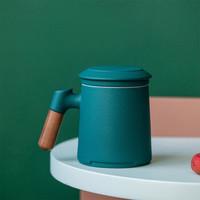 百鸿 茶水分离杯陶瓷水杯带盖过滤内胆泡茶杯大容量办公室家用情侣马克杯黛绿色