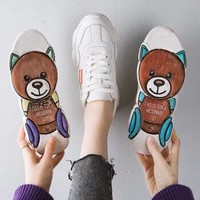 薇靡雅 小熊飞织运动跑步鞋 35码