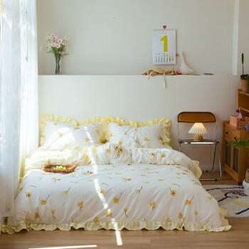 圣美娜 小清新花边床裙款四件套