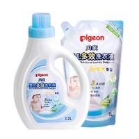 Pigeon 贝亲 儿童多效洗衣液1.2L+1L阳光香型组合装