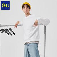 GU极优男装双面织宽松套头衫2020秋季新款简约百搭舒适卫衣327469