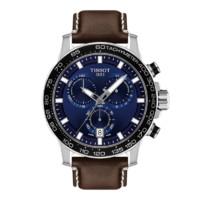 TISSOT 天梭 速敢系列 T256171604100 45.5mm 男士石英手表 蓝盘 棕色皮革带 圆形