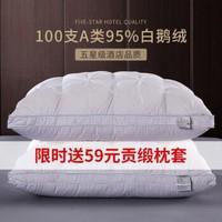 CELEN 羽绒枕头高弹柔软95%鹅绒枕芯全棉五星级酒店枕头芯 48*74cm单只