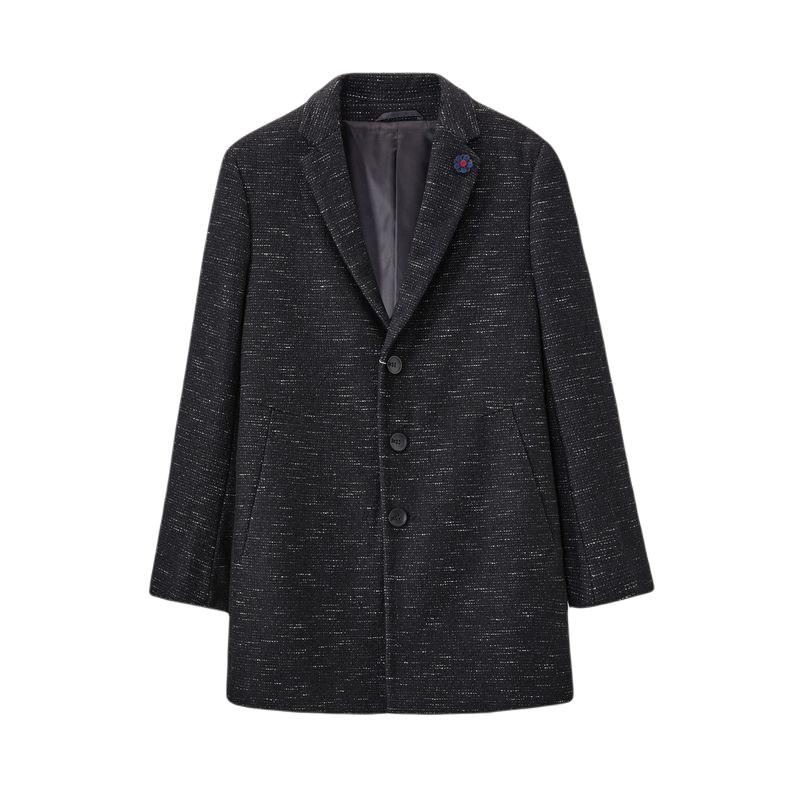 HLA 海澜之家 男士西装领针织大衣 HWDAJ4E054A 黑色花纹54 165/84A/S