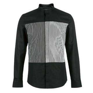 SELECTED 思莱德 商务休闲系列 男士棉麻条纹拼色长袖衬衫419105559 黑色XS