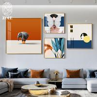 北欧客厅装饰画沙发后背景墙上壁画时尚创意个性主卧床头组合挂画