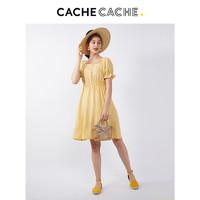 CacheCache连衣裙2019新款夏法式复古山本智熏裙子收腰纯色过膝裙