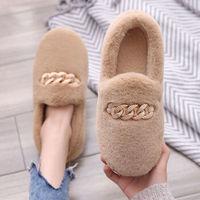 保暖厚底毛毛棉鞋(35-36)