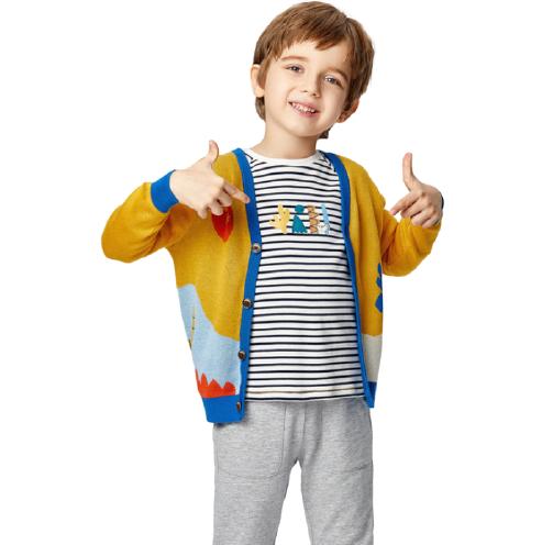 Purcotton 全棉时代 男童长绒针织开衫 樱草黄 100cm