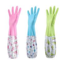 洗碗手套加绒加厚防水洗衣清洁橡胶厨房用打扫卫生手套 加绒 彩色束口 2双装