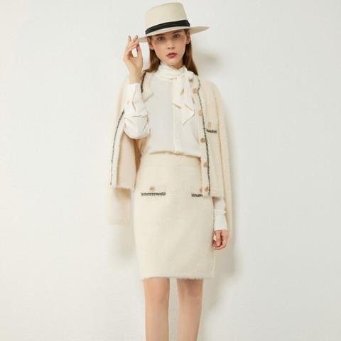 AMII YD12030570 小香风毛衣外套半身裙套装