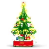森宝积木 街景小颗粒积木  圣诞树/486块/旋转八音盒/带灯光