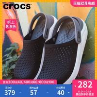 Crocs男洞洞鞋LiteRide休闲平底沙滩鞋卡骆驰女凉拖鞋|204592