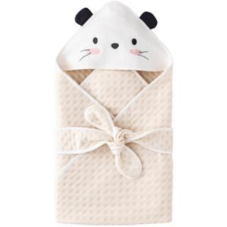 威尔贝鲁(WELLBER)婴儿包被新生儿宝宝彩棉包巾抱毯=小老鼠80*80cm *2件