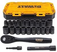 DEWALT 强力盒 23 个 1/2 驱动冲击套筒套装