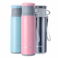 邦达304不锈钢水杯 便携带提绳保温杯 男女士大容量时尚双盖运动水壶 粉色+350ml