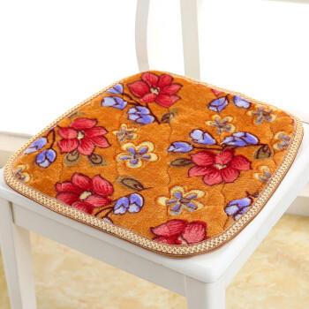 斜月三星 冬季保暖椅子坐垫沙发垫办公室久坐屁垫 柔软舒适 加厚40*45花朵坐垫