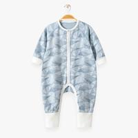 棉店前开护脚长袖哈衣连体衣6-36个月新生婴幼儿宝宝