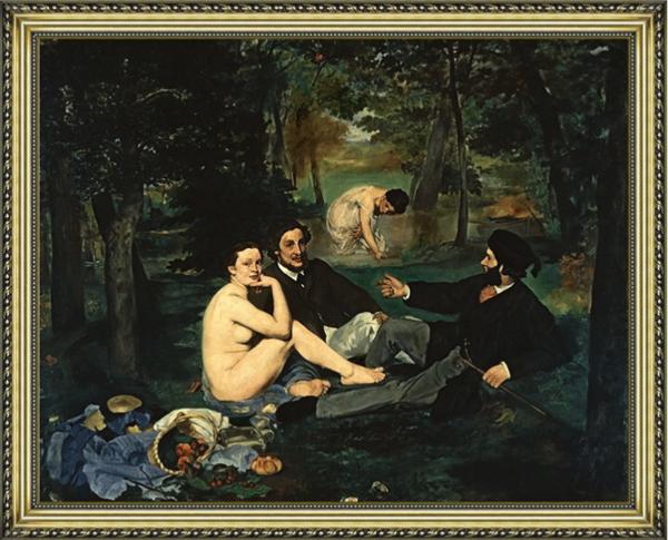 马奈油画《草地上的午餐》沙发背景墙装饰画挂画 宫廷金 85×69cm