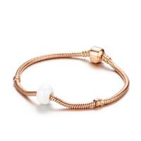 蒂卡世琦 个性时尚手环简约手镯1K金镶嵌情人节礼物 粉色陶瓷+玫瑰金