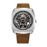 SeaGull 海鸥 锋芒系列 849.27.6094K 44mm 男士机械手表 镂空盘 棕色皮带 酒桶型