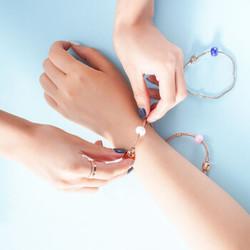 手链 新款轻奢 个性蛇骨手链蓝陶瓷转运珠+白金