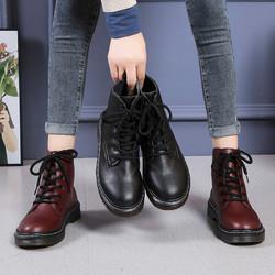 马丁靴女2020秋冬新款时尚韩版松糕厚底圆头系带高帮骑士女短靴