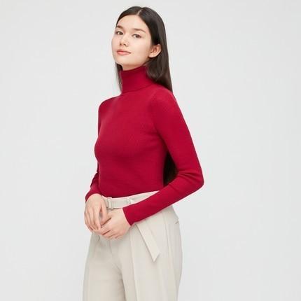 UNIQLO 优衣库 428860 女装 100%美利奴绵羊毛针织衫