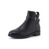 BeLLE 百丽 女士圆头牛皮粗低跟侧拉链短靴BD746DD8 黑色35