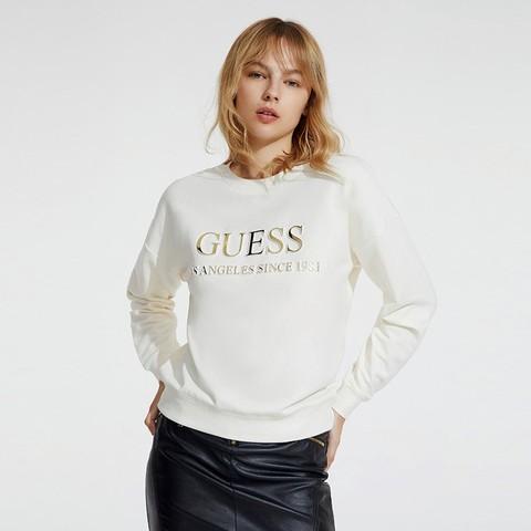 GUESS 盖尔斯 W93I0MR54Z4 女士纯色字母LOGO圆领卫衣