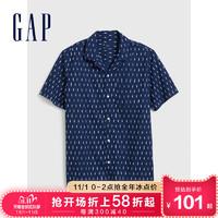 Gap男装时尚潮流印花短袖衬衫秋冬579998 2020新款简约男士衬衣