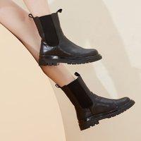 2020冬季新款时尚休闲短靴女英伦风切尔西靴女潮流百搭烟筒靴