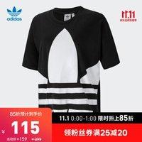 阿迪达斯官网adidas 三叶草 女装运动短袖T恤GI1133 GI1134 GJ1009 黑色/白 38(参考身高:169~172CM)