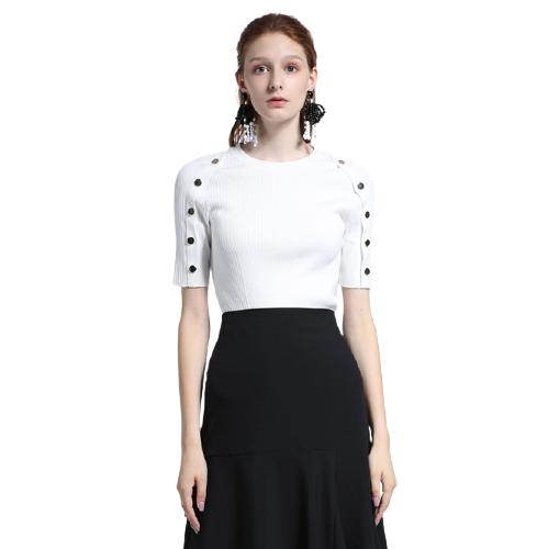 ochirly 欧时力 女士纯色圆领套头短袖针织衫1ZY1032770 米白M