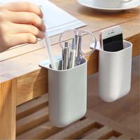 聚快 桌边显示器粘贴笔筒收纳盒 白色+灰色2个(大号)