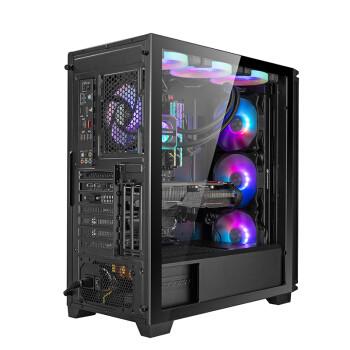 骨伽 骨伽影武者X7 电脑主机箱 中塔式侧透 支持360水冷 E-ATX主板  原子黑