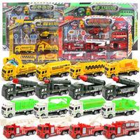 移动专享 : 竺古力  工程建筑系列 回力消防车工程车套装 军事模型 礼盒包装 (袋装)