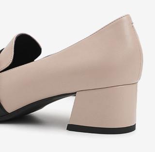 BeLLE 百丽 女士复古休闲方头粗中跟凉鞋BZ920AM9 杏色35