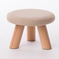 家逸布艺休闲实木凳子沙发凳脚凳换鞋凳松木小板凳 素颜单只装
