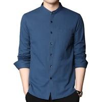 恒源祥 男士纯棉纯色立领长袖衬衫6677 宝蓝色M
