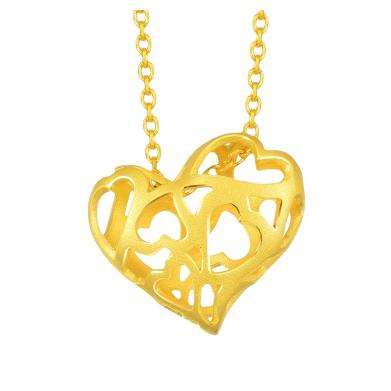 周生生黄金足金镂空心形吊坠项坠不含项链89602P计价