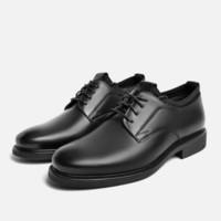 BeLLE 百丽 男士纯色圆头平跟系带休闲鞋6RX01CM9 黑色39