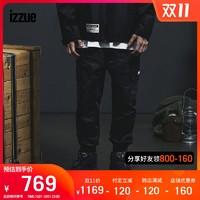 izzue男装工装束脚长裤2020冬季新品个性撞色织带6130F0F