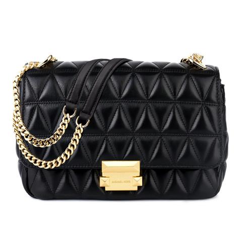 MICHAEL KORS迈克·科尔斯 MK女包专柜同款 SLOAN系列包包黑色菱格女士单肩包中号斜跨包