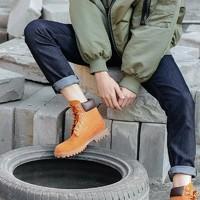 英伦牛皮防水工装男靴