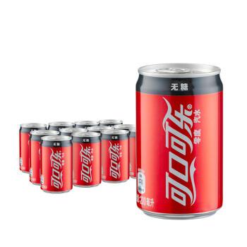 京东PLUS会员、限地区:Coca-Cola 可口可乐 饮料  零度无糖 汽水 碳酸饮料 200ml*24罐 整箱